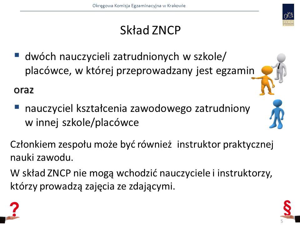 Skład ZNCP dwóch nauczycieli zatrudnionych w szkole/ placówce, w której przeprowadzany jest egzamin.