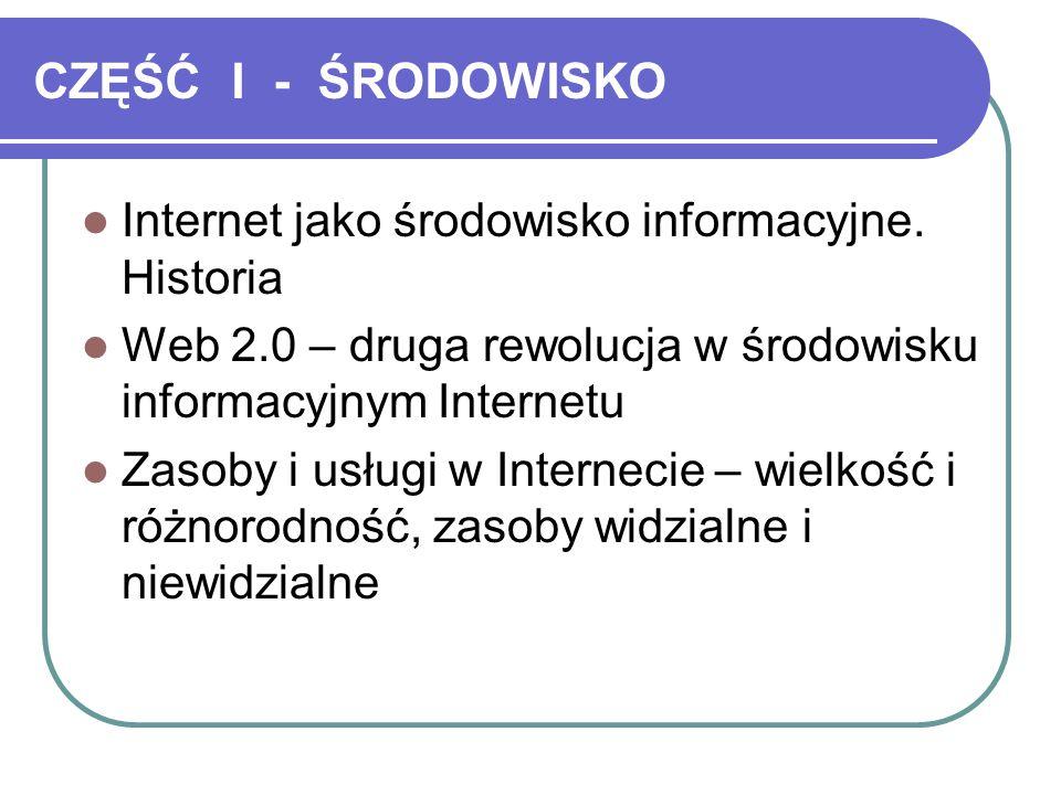CZĘŚĆ I - ŚRODOWISKO Internet jako środowisko informacyjne. Historia