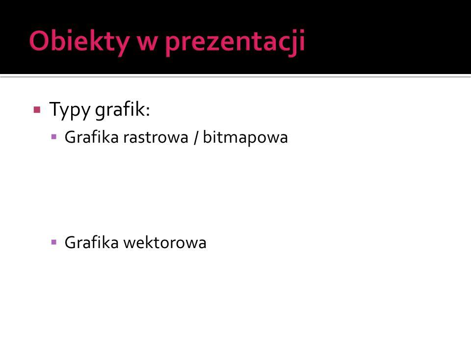Obiekty w prezentacji Typy grafik: Grafika rastrowa / bitmapowa