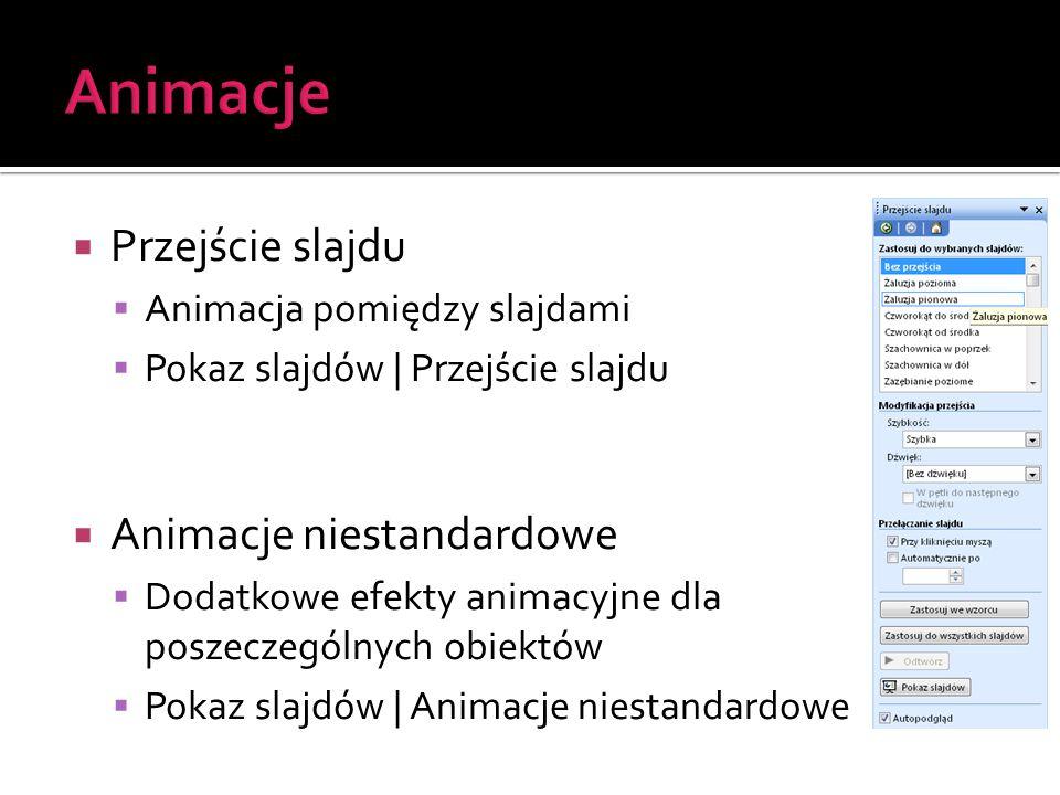 Animacje Przejście slajdu Animacje niestandardowe