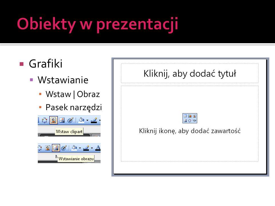 Obiekty w prezentacji Grafiki Wstawianie Wstaw | Obraz Pasek narzędzi