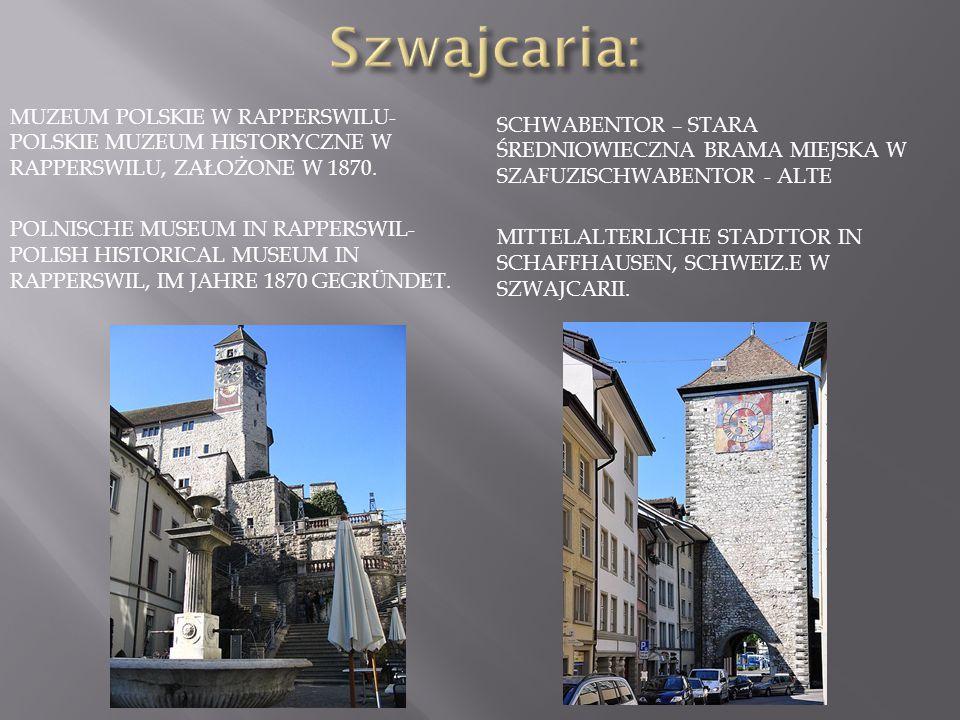 Szwajcaria: Muzeum Polskie w Rapperswilu- polskie muzeum historyczne w Rapperswilu, założone w 1870.