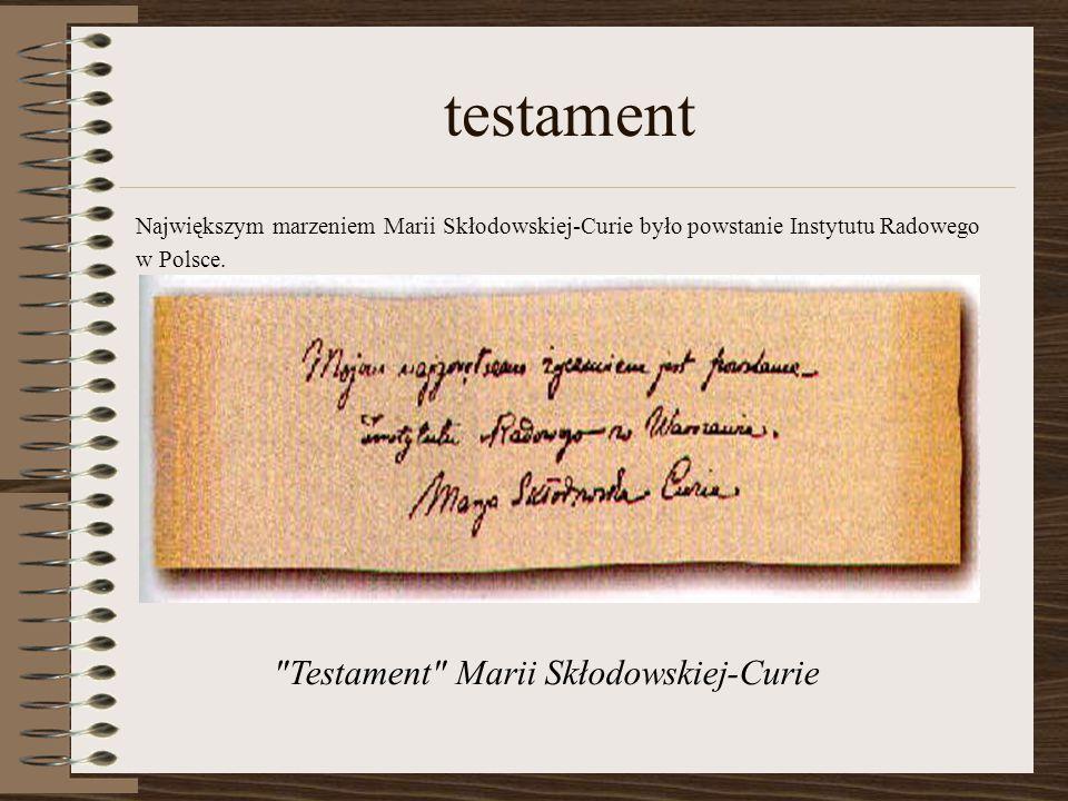Testament Marii Skłodowskiej-Curie