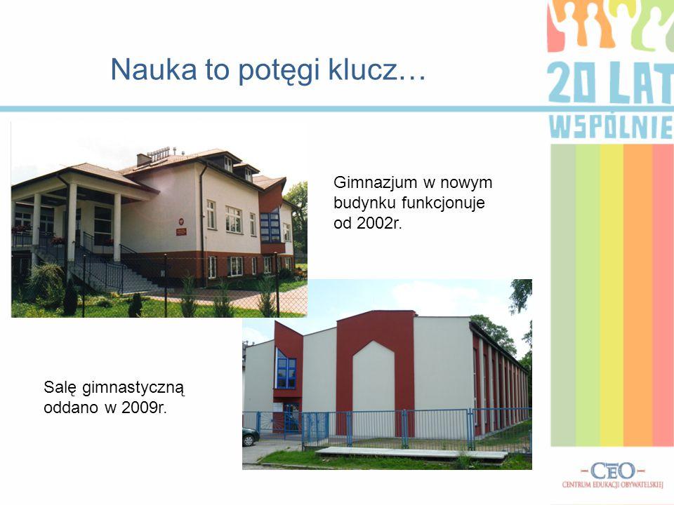 Nauka to potęgi klucz… Gimnazjum w nowym budynku funkcjonuje od 2002r.