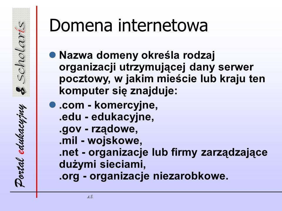 Domena internetowa Nazwa domeny określa rodzaj organizacji utrzymującej dany serwer pocztowy, w jakim mieście lub kraju ten komputer się znajduje: