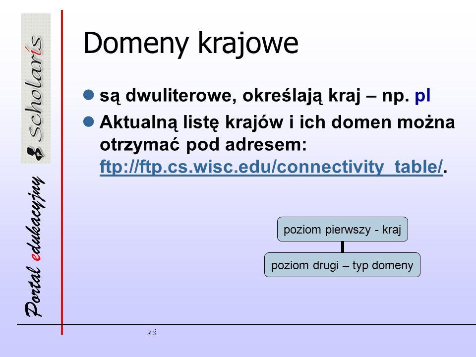 Domeny krajowe są dwuliterowe, określają kraj – np. pl