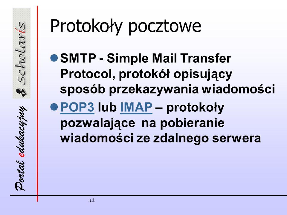 Protokoły pocztowe SMTP - Simple Mail Transfer Protocol, protokół opisujący sposób przekazywania wiadomości.