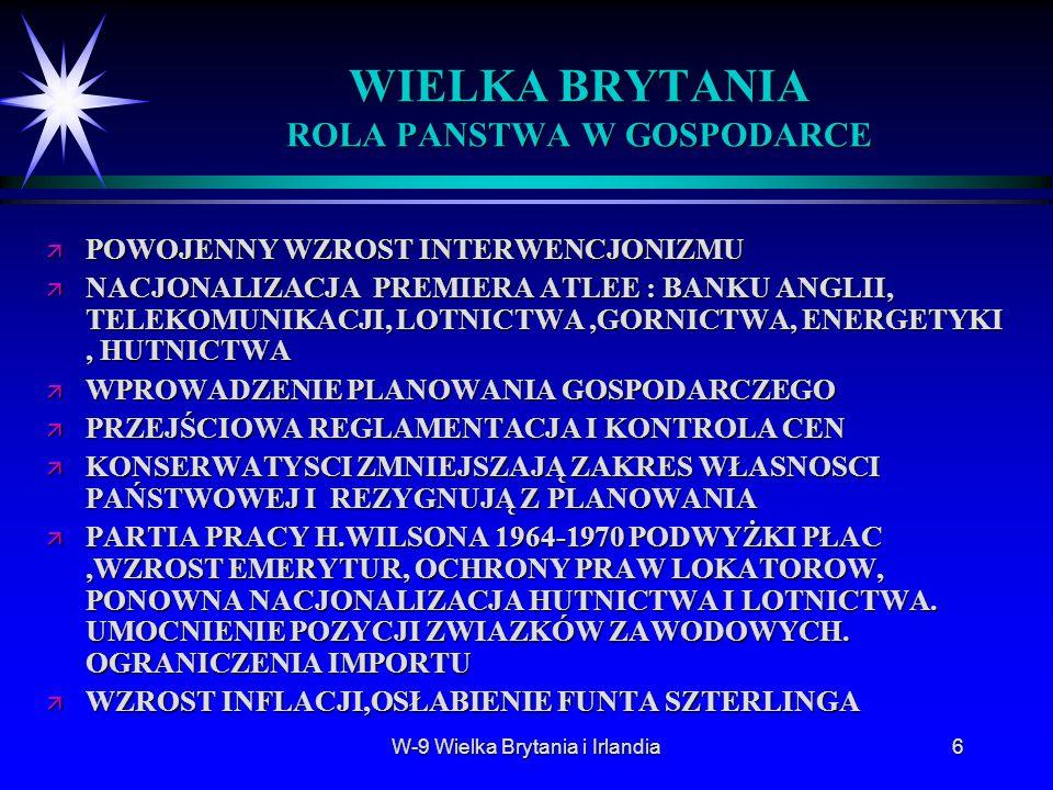 WIELKA BRYTANIA ROLA PANSTWA W GOSPODARCE