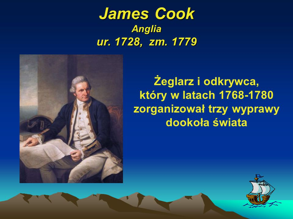 James Cook Anglia ur. 1728, zm.