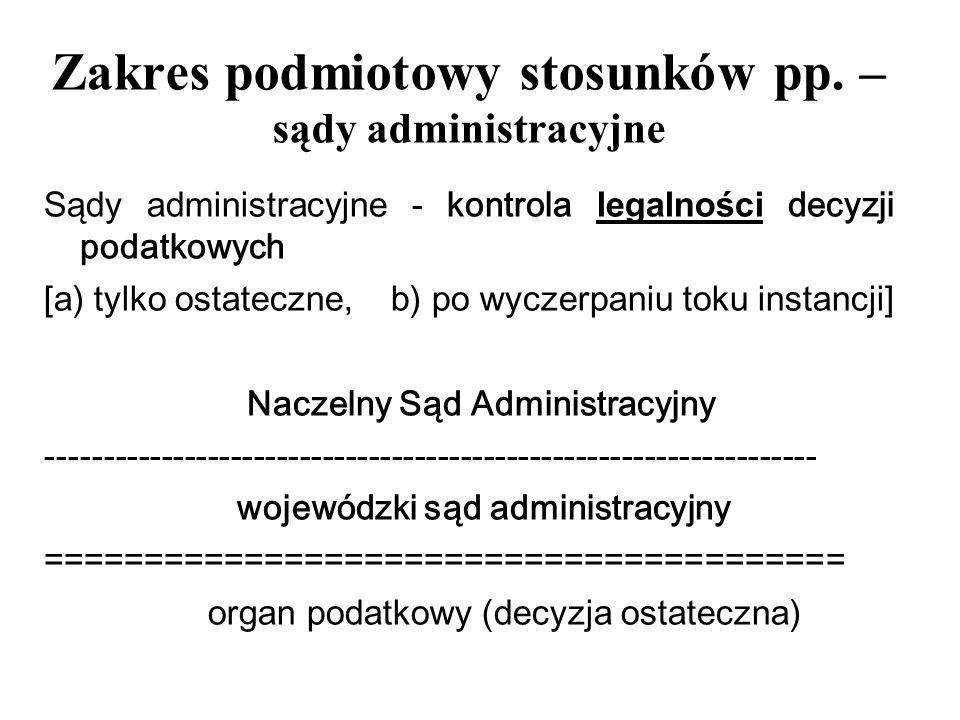 Zakres podmiotowy stosunków pp. – sądy administracyjne
