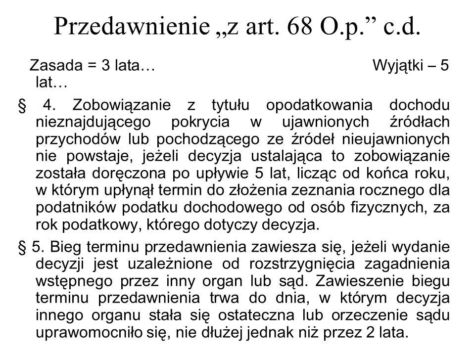 """Przedawnienie """"z art. 68 O.p. c.d."""