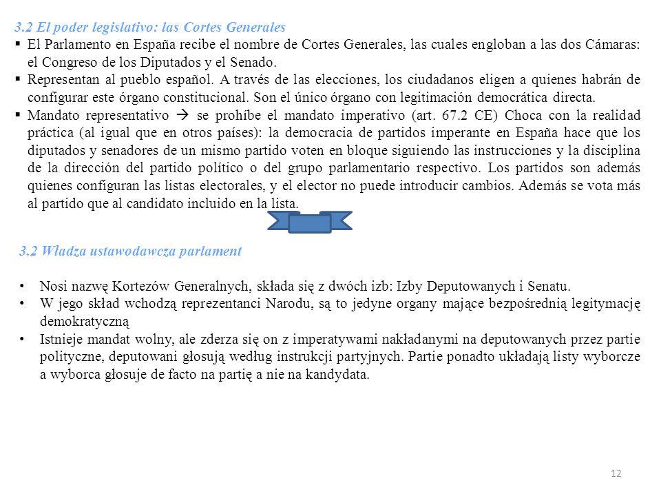 3.2 El poder legislativo: las Cortes Generales