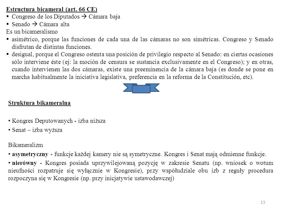 Estructura bicameral (art. 66 CE)