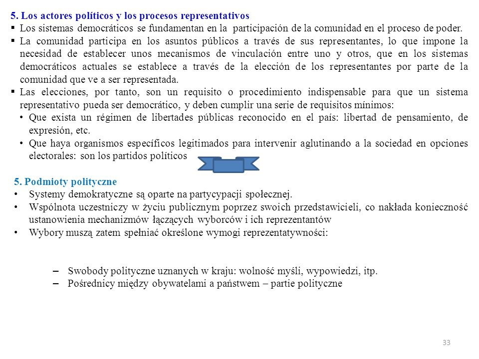 5. Los actores políticos y los procesos representativos