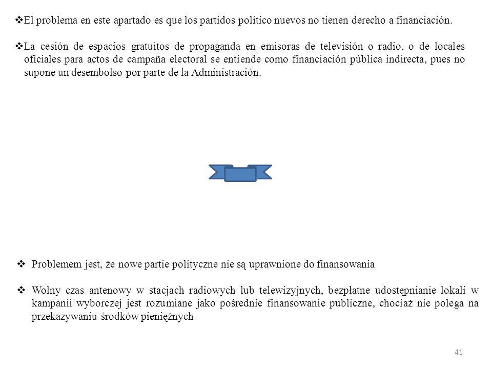 El problema en este apartado es que los partidos político nuevos no tienen derecho a financiación.