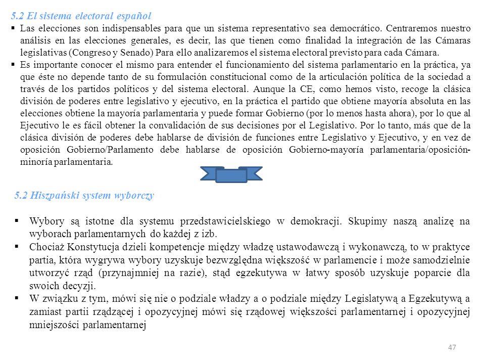 5.2 El sistema electoral español