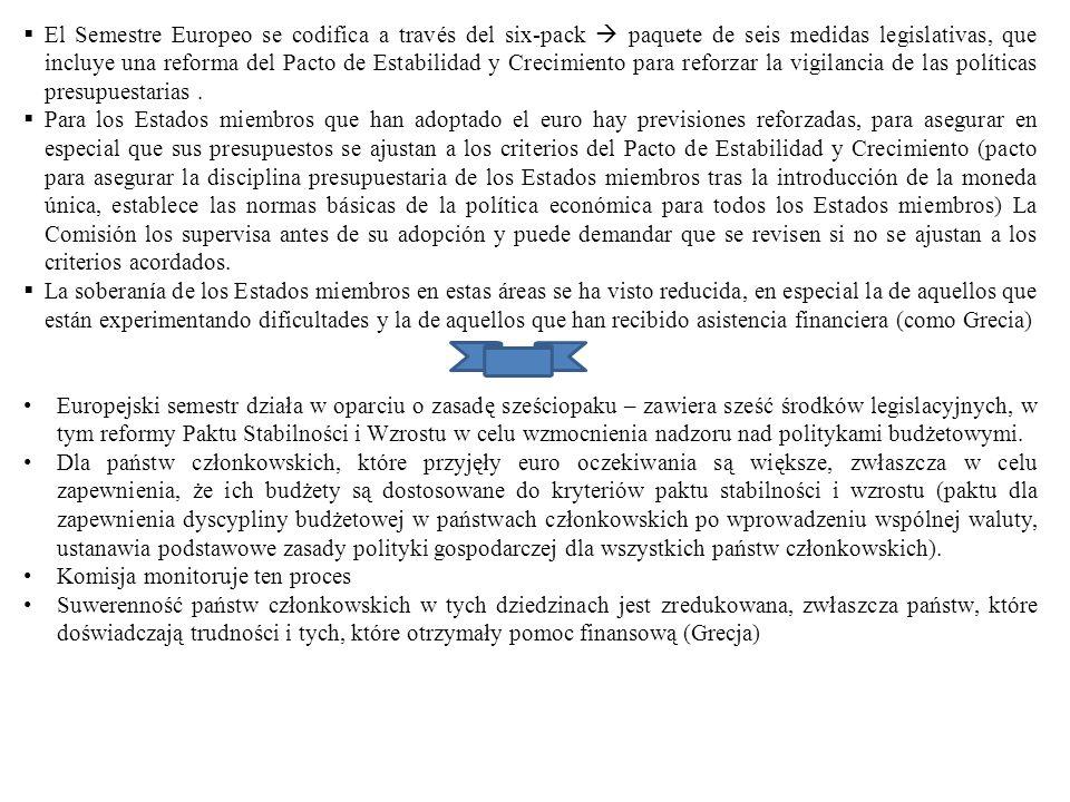 El Semestre Europeo se codifica a través del six-pack  paquete de seis medidas legislativas, que incluye una reforma del Pacto de Estabilidad y Crecimiento para reforzar la vigilancia de las políticas presupuestarias .