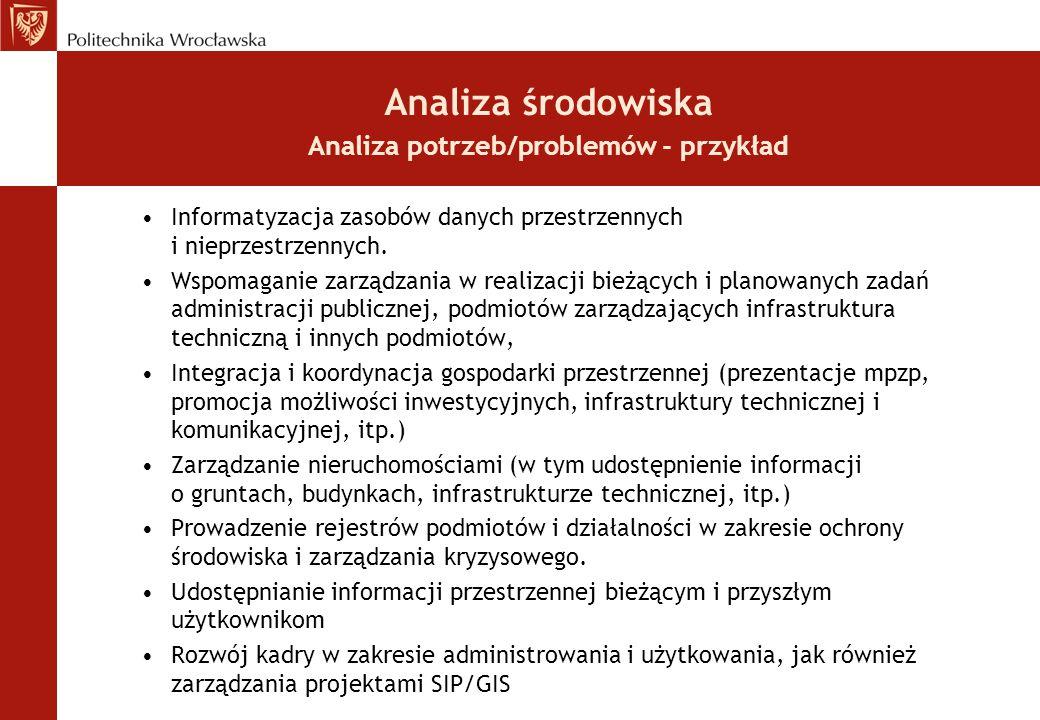 Analiza środowiska Analiza potrzeb/problemów - przykład