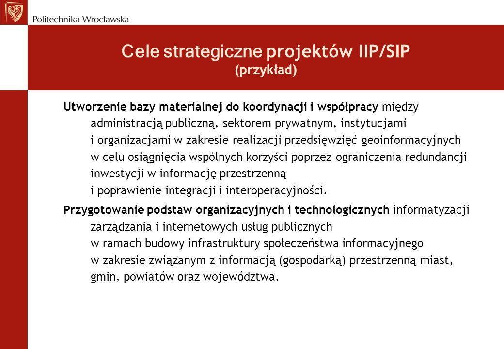 Cele strategiczne projektów IIP/SIP (przykład)