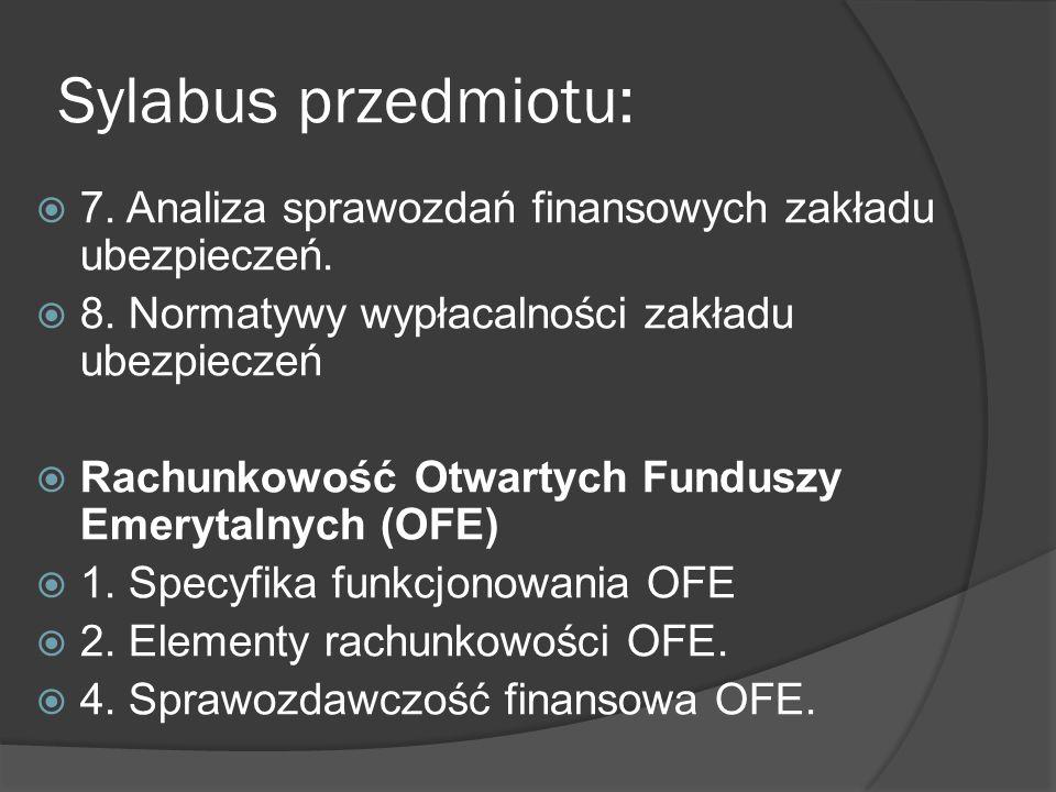 Sylabus przedmiotu: 7. Analiza sprawozdań finansowych zakładu ubezpieczeń. 8. Normatywy wypłacalności zakładu ubezpieczeń.