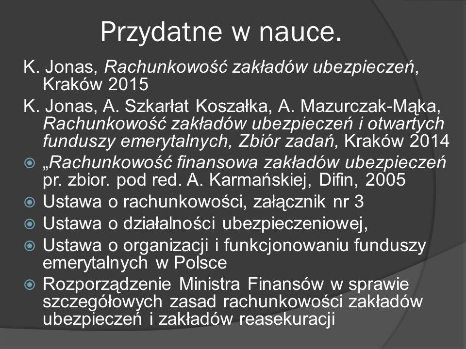 Przydatne w nauce. K. Jonas, Rachunkowość zakładów ubezpieczeń, Kraków 2015.