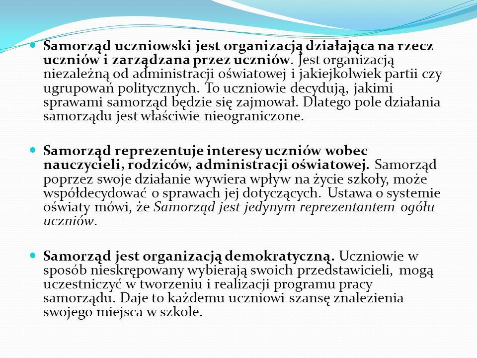 Samorząd uczniowski jest organizacją działająca na rzecz uczniów i zarządzana przez uczniów. Jest organizacją niezależną od administracji oświatowej i jakiejkolwiek partii czy ugrupowań politycznych. To uczniowie decydują, jakimi sprawami samorząd będzie się zajmował. Dlatego pole działania samorządu jest właściwie nieograniczone.