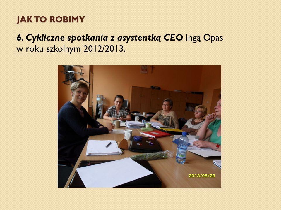 Jak to robimy 6. Cykliczne spotkania z asystentką CEO Ingą Opas w roku szkolnym 2012/2013.