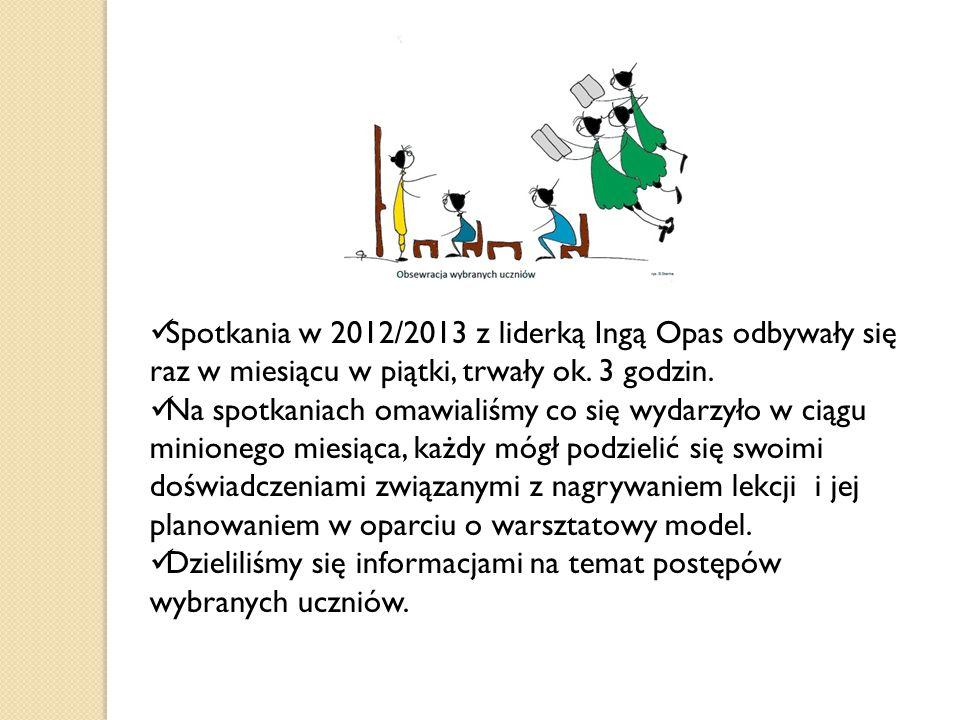 Spotkania w 2012/2013 z liderką Ingą Opas odbywały się raz w miesiącu w piątki, trwały ok. 3 godzin.