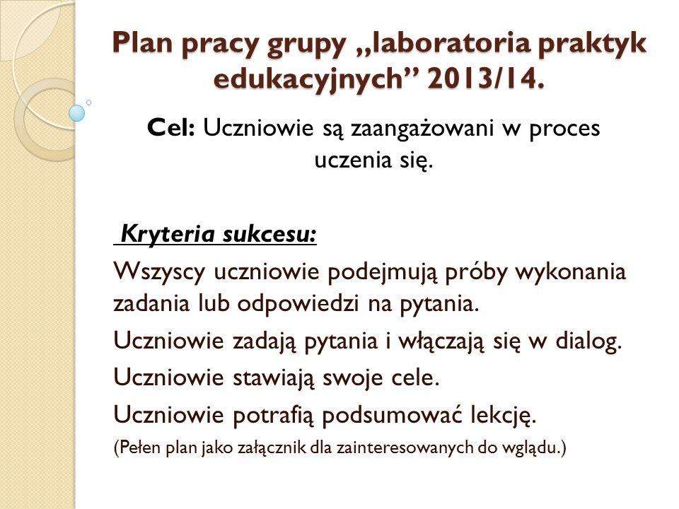 """Plan pracy grupy """"laboratoria praktyk edukacyjnych 2013/14."""