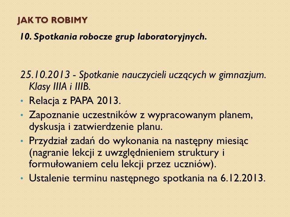 Ustalenie terminu następnego spotkania na 6.12.2013.