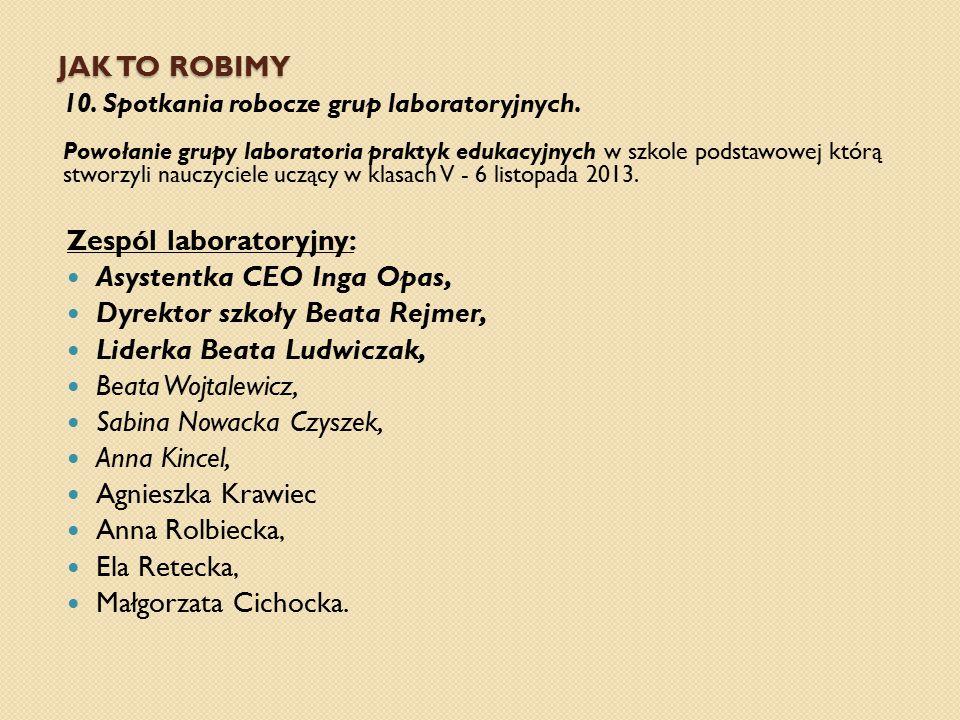 Zespól laboratoryjny: Asystentka CEO Inga Opas,