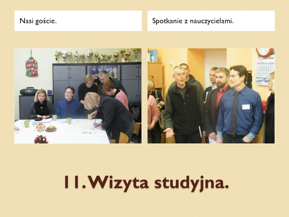 Nasi goście. Spotkanie z nauczycielami. 11. Wizyta studyjna.