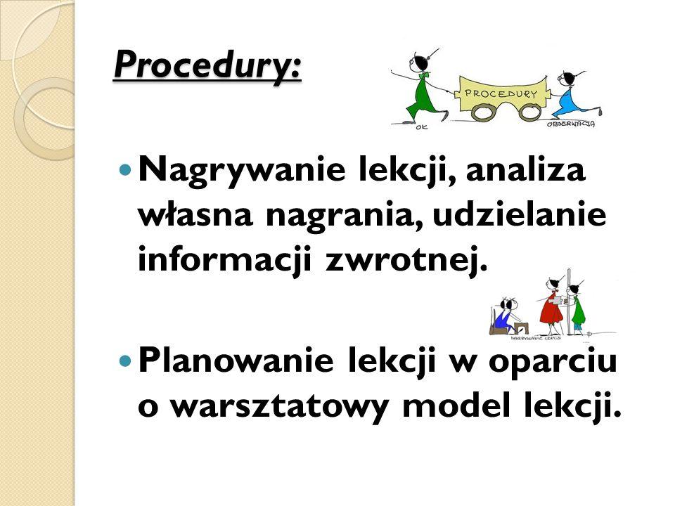 Procedury: Nagrywanie lekcji, analiza własna nagrania, udzielanie informacji zwrotnej.