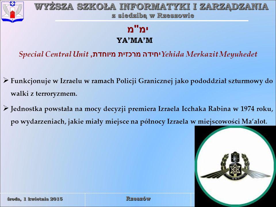 Special Central Unitיחידה מרכזית מיוחדת, Yehida Merkazit Meyuhedet