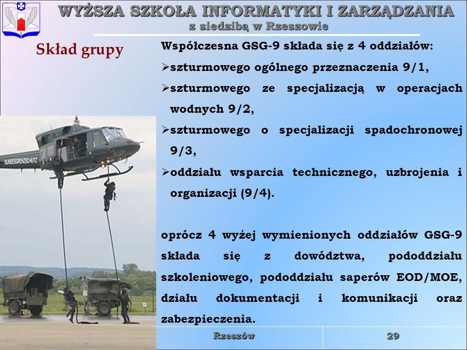 Skład grupy Współczesna GSG-9 składa się z 4 oddziałów: