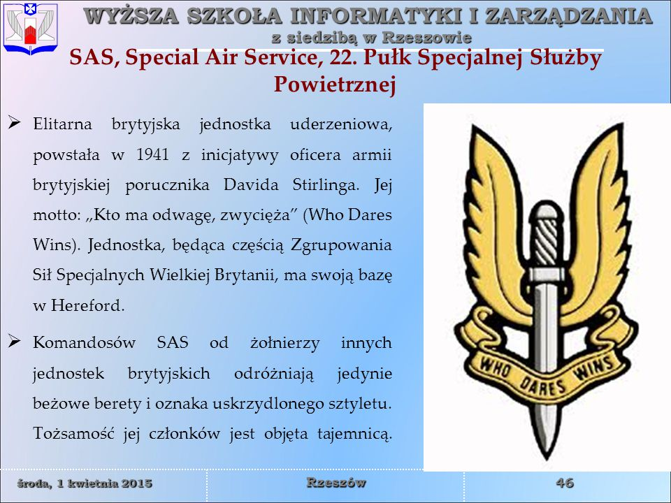 SAS, Special Air Service, 22. Pułk Specjalnej Służby Powietrznej