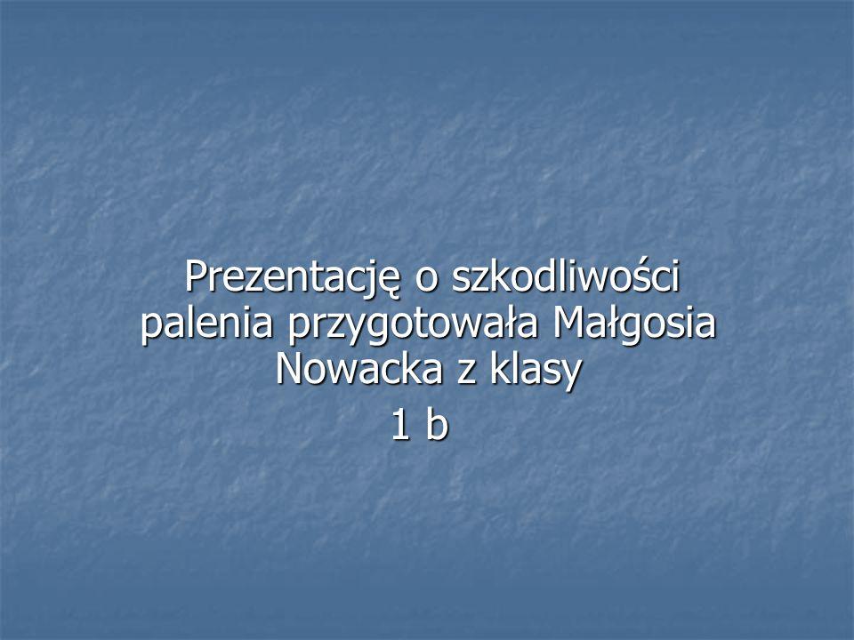 Prezentację o szkodliwości palenia przygotowała Małgosia Nowacka z klasy