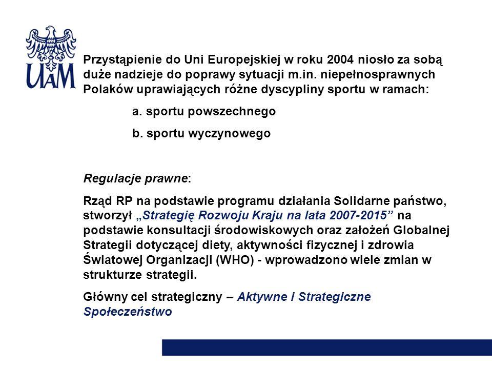Przystąpienie do Uni Europejskiej w roku 2004 niosło za sobą duże nadzieje do poprawy sytuacji m.in. niepełnosprawnych Polaków uprawiających różne dyscypliny sportu w ramach: