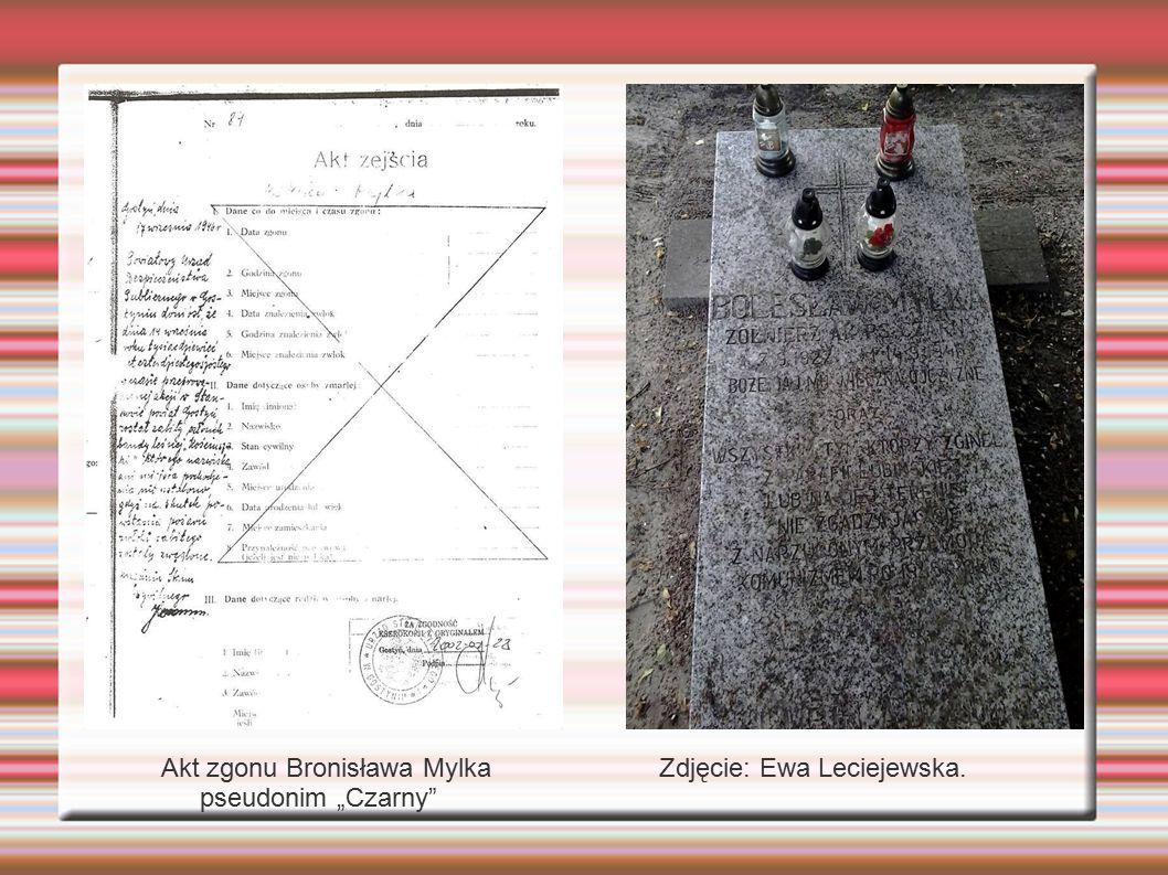 """f Akt zgonu Bronisława Mylka pseudonim """"Czarny"""