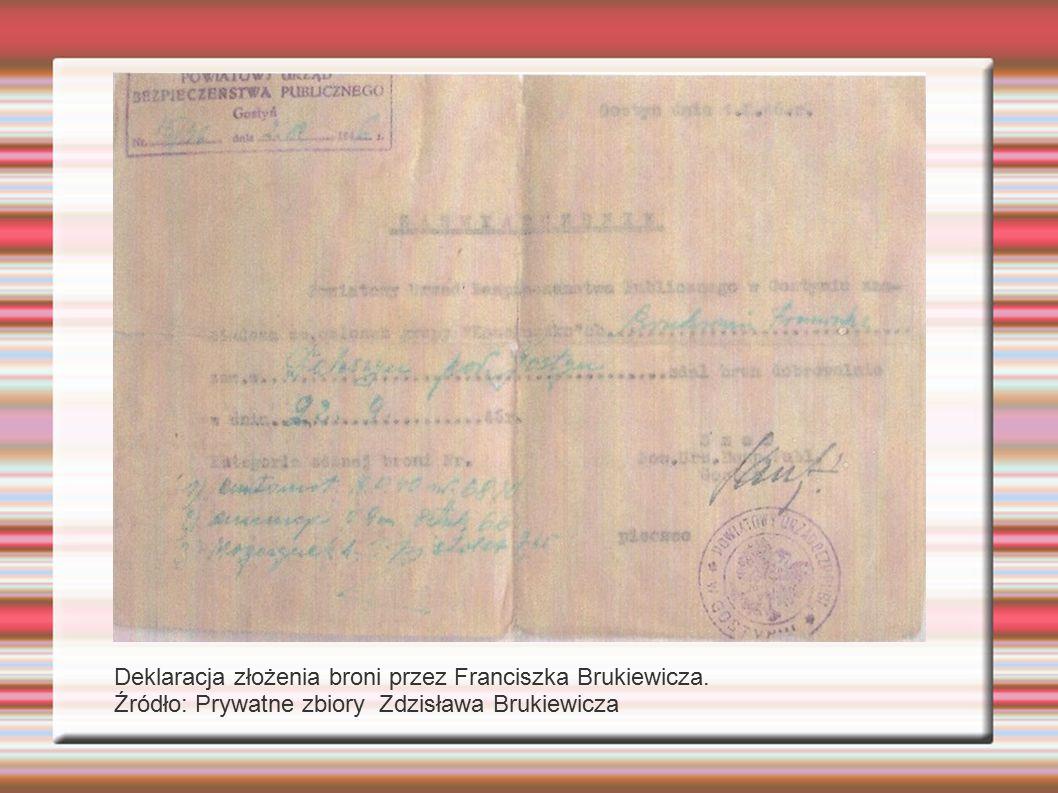 Deklaracja złożenia broni przez Franciszka Brukiewicza.