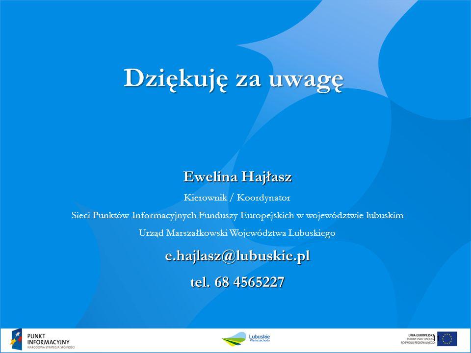 Dziękuję za uwagę Ewelina Hajłasz e.hajlasz@lubuskie.pl
