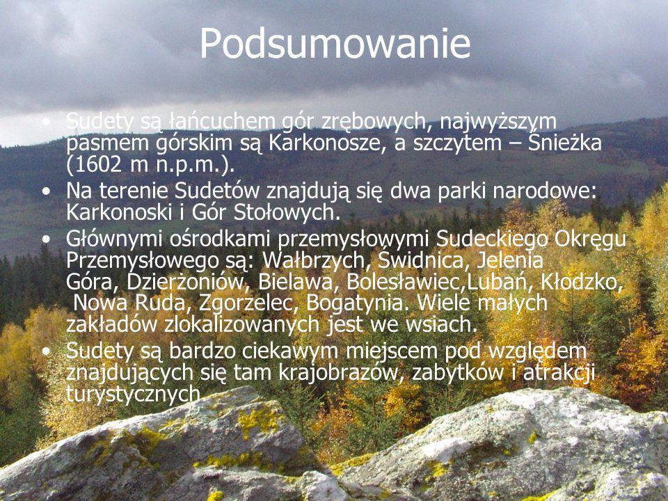 Podsumowanie Sudety są łańcuchem gór zrębowych, najwyższym pasmem górskim są Karkonosze, a szczytem – Śnieżka (1602 m n.p.m.).