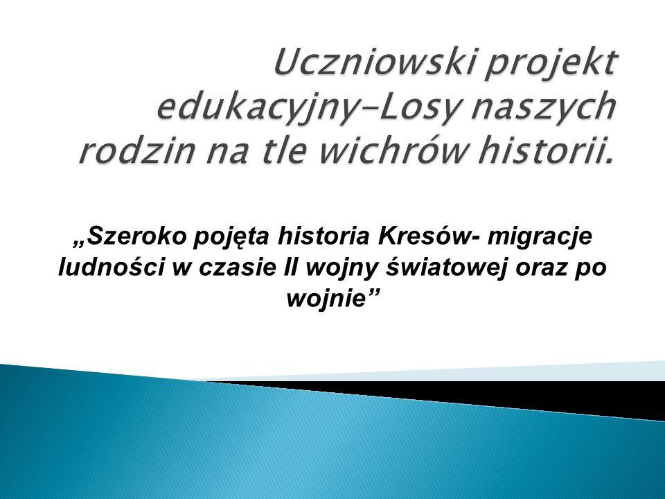 Uczniowski projekt edukacyjny-Losy naszych rodzin na tle wichrów historii.