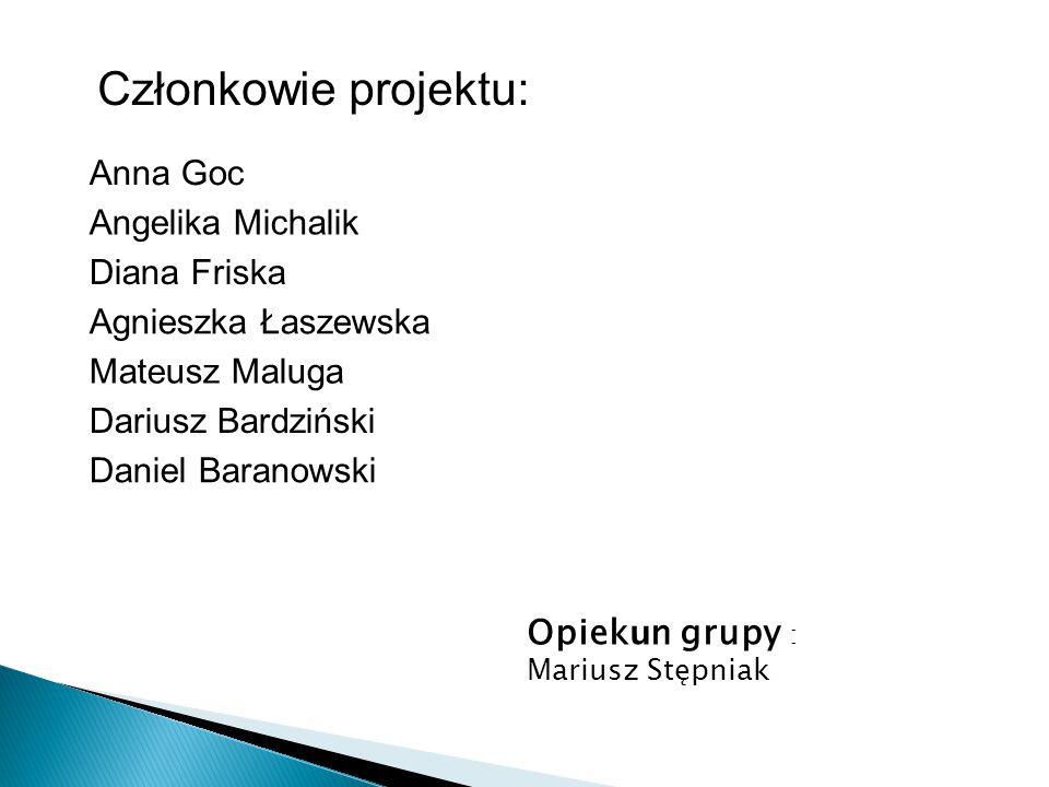 Członkowie projektu: Anna Goc Angelika Michalik Diana Friska