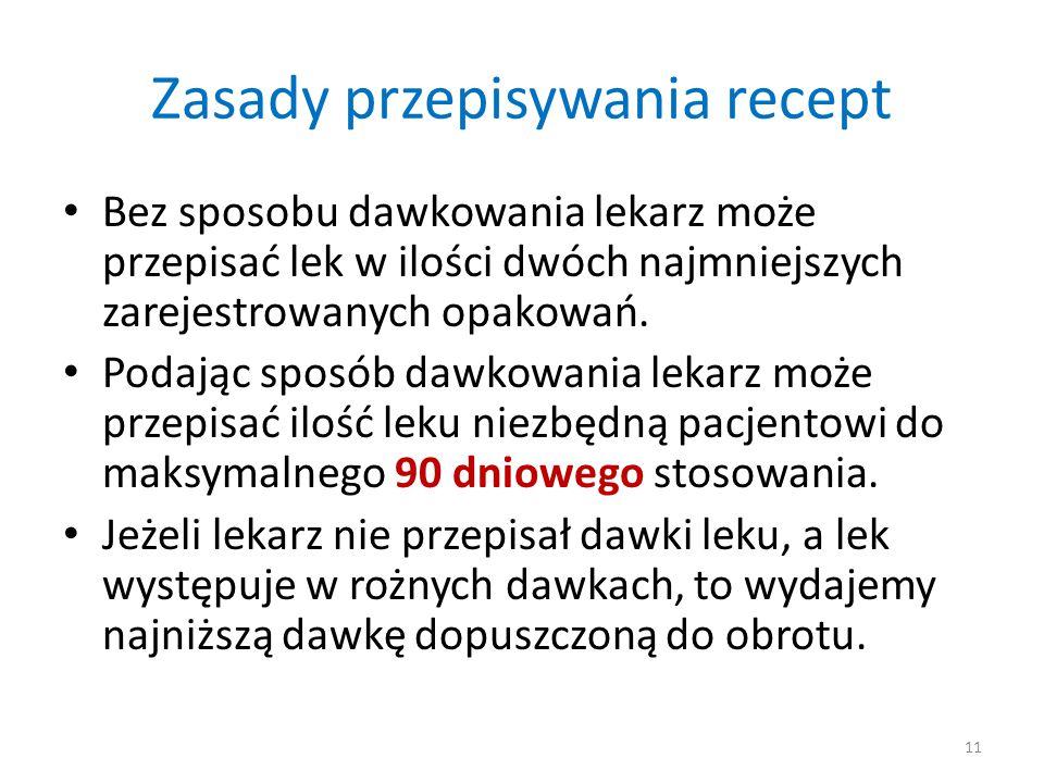 Zasady przepisywania recept