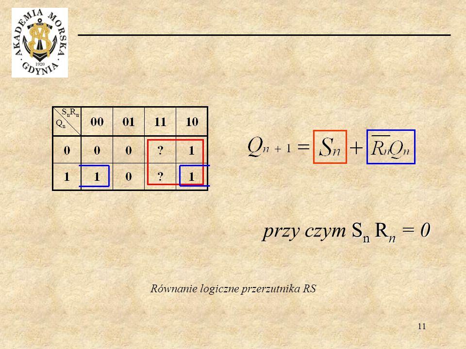 Równanie logiczne przerzutnika RS