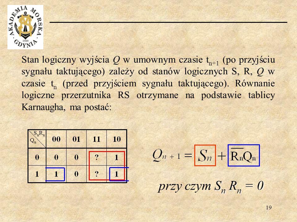 Stan logiczny wyjścia Q w umownym czasie tn+1 (po przyjściu sygnału taktującego) zależy od stanów logicznych S, R, Q w czasie tn (przed przyjściem sygnału taktującego). Równanie logiczne przerzutnika RS otrzymane na podstawie tablicy Karnaugha, ma postać: