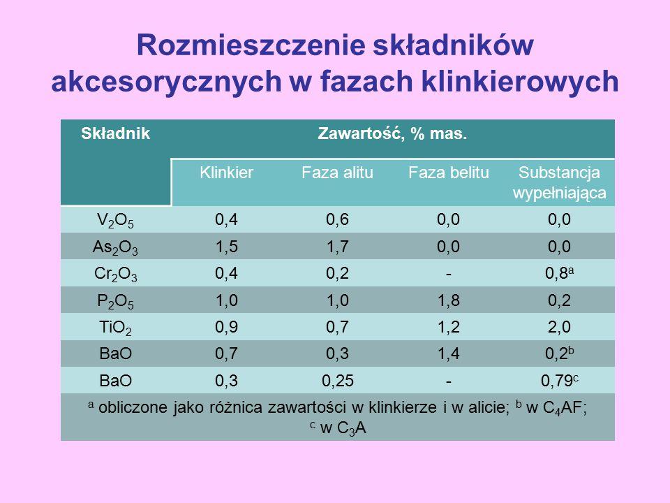Rozmieszczenie składników akcesorycznych w fazach klinkierowych