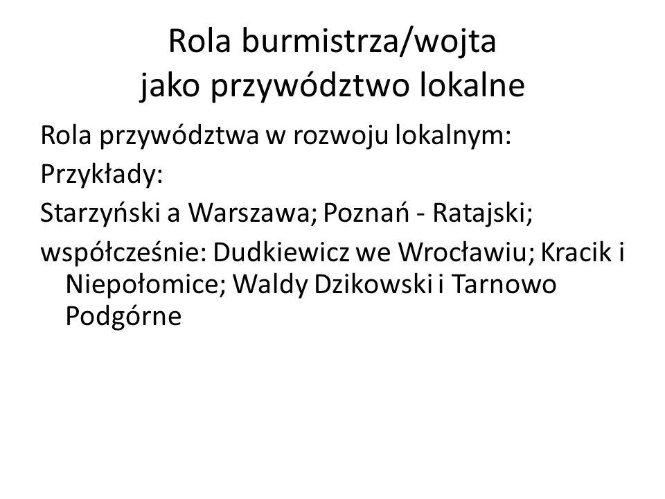 Rola burmistrza/wojta jako przywództwo lokalne