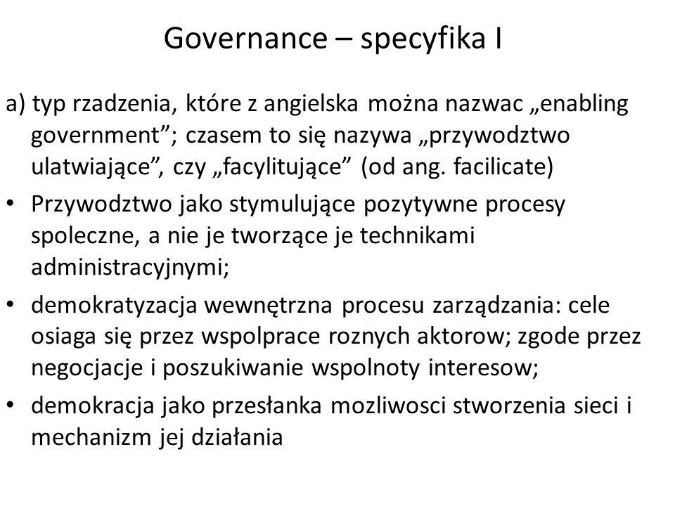 Governance – specyfika I